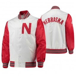 Nebraska Cornhuskers White Scarlet The Legend Full-Snap Jacket