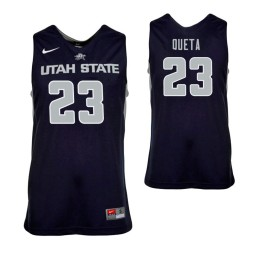 Youth Utah State Aggies Neemias Queta Authentic College Basketball Jersey Navy Blue