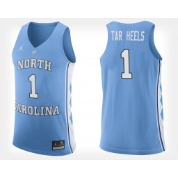 North Carolina Tar Heels #1 Light Blue Authentic College Basketball Jersey