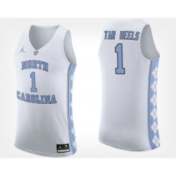 North Carolina Tar Heels NO. 1 White Road Authentic College Basketball Jersey