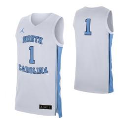 North Carolina Tar Heels #1 Authentic College Basketball Jersey White