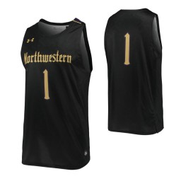 Northwestern Wildcats #1 Authentic College Basketball Jersey Black