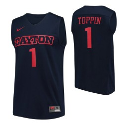 Dayton Flyers #1 Obi Toppin Navy Authentic College Basketball Jersey