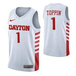 Dayton Flyers #1 Obi Toppin White Authentic College Basketball Jersey