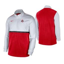 Ohio State Buckeyes White Scarlet Color Block Quarter-Zip Jacket