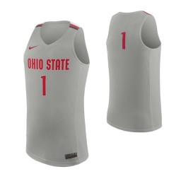 Ohio State Buckeyes #1 Authentic College Basketball Jersey Gray