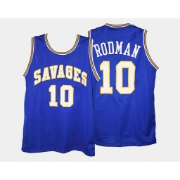 Youth Oklahoma Savage Storm #10 Dennis Rodman Blue Road Authentic College Basketball Jersey