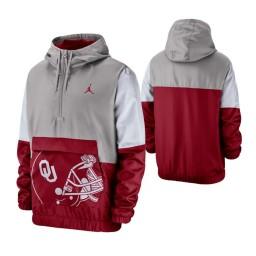 Oklahoma Sooners Gray Colorblock Anorak Quarter-Zip Jacket