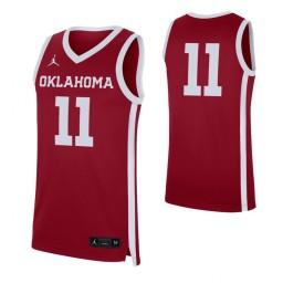 Oklahoma Sooners #11 Authentic College Basketball Jersey Crimson