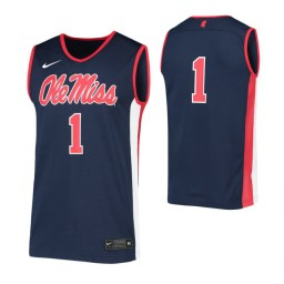 Ole Miss Rebels #1 Authentic College Basketball Jersey Navy