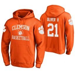 Clemson Tigers #21 Anthony Oliver II Men's Orange College Basketball Hoodie