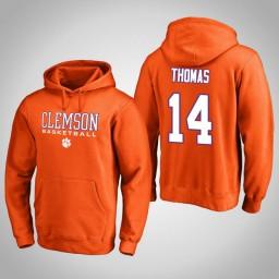 Clemson Tigers #14 Elijah Thomas Men's Orange College Basketball Hoodie