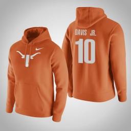 Texas Longhorns #10 Eric Davis Jr. Men's Orange Pullover Hoodie