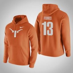 Texas Longhorns #13 Jase Febres Men's Orange Pullover Hoodie