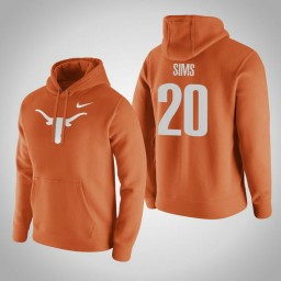 Texas Longhorns #20 Jericho Sims Men's Orange Pullover Hoodie