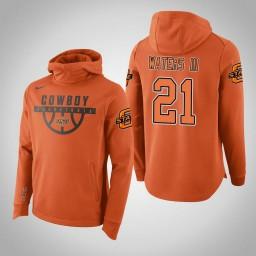 Oklahoma St Cowboys #21 Lindy Waters III Men's Orange College Basketball Hoodie