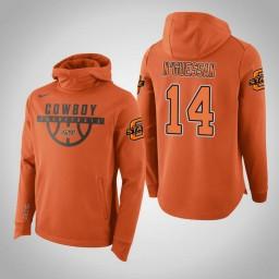 Oklahoma St Cowboys #14 Lucas N'Guessan Men's Orange College Basketball Hoodie