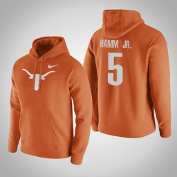 Texas Longhorns #5 Royce Hamm Jr. Men's Orange Pullover Hoodie