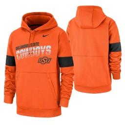 Oklahoma State Cowboys Orange Sideline Wordmark & Logo Performance Hoodie