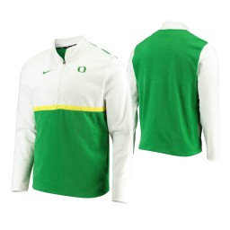 Oregon Ducks White Green Color Block Quarter-Zip Jacket