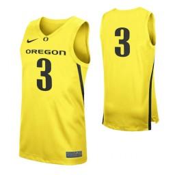 Oregon Ducks #3 Authentic College Basketball Jersey Yellow