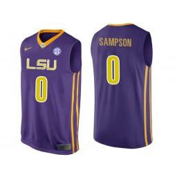 LSU Tigers #0 Brandon Sampson Authentic College Basketball Jersey Purple