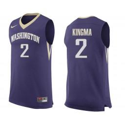 Women's Washington Huskies #2 Dan Kingma Authentic College Basketball Jersey Purple