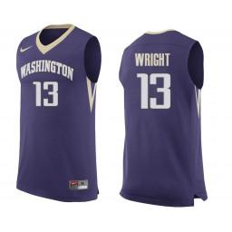 Women's Washington Huskies #13 Hameir Wright Authentic College Basketball Jersey Purple