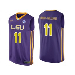 LSU Tigers #11 Kavell Bigby-Williams Authentic College Basketball Jersey Purple