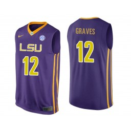 LSU Tigers #12 Marshall Graves Authentic College Basketball Jersey Purple