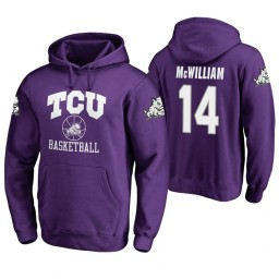 TCU Horned Frogs #14 Angus McWilliam Men's Purple College Basketball Hoodie