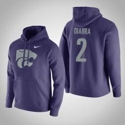 Kansas State Wildcats #2 Cartier Diarra Men's Purple Pullover Hoodie