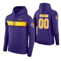 LSU Tigers #00 Custom Men's Purple Pullover Hoodie