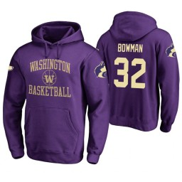 Washington Huskies #32 Greg Bowman Men's Purple College Basketball Hoodie