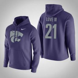 Kansas State Wildcats #21 James Love III Men's Purple Pullover Hoodie