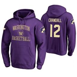 Washington Huskies #12 Jason Crandall Men's Purple College Basketball Hoodie