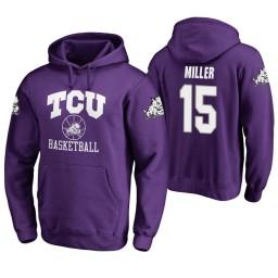 TCU Horned Frogs #15 JD Miller Men's Purple College Basketball Hoodie