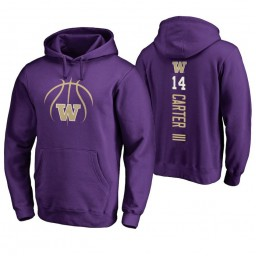 Washington Huskies #14 Michael Carter III Men's Purple College Basketball Hoodie