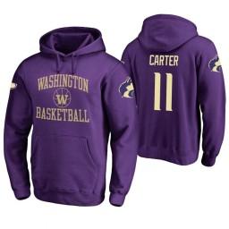 Washington Huskies #11 Nahziah Carter Men's Purple College Basketball Hoodie