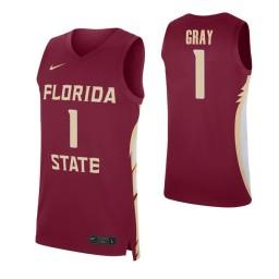 Florida State Seminoles #1 Raiquan Gray Garnet Authentic College Basketball Jersey