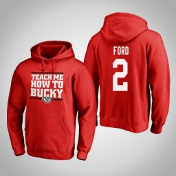 Wisconsin Badgers #2 Aleem Ford Men's Red Team Hometown Collection Pullover Hoodie