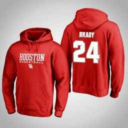 Houston Cougars #24 Breaon Brady Men's Red College Basketball Hoodie