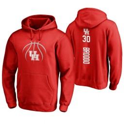Houston Cougars #30 Caleb Broodo Men's Red College Basketball Hoodie