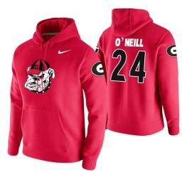Georgia Bulldogs #24 Connor O'Neill Men's Red College Basketball Hoodie