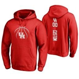 Houston Cougars #00 Custom Men's Red College Basketball Hoodie