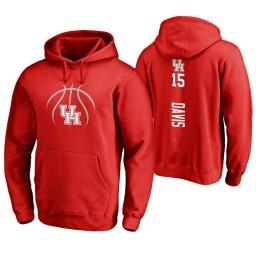 Houston Cougars #15 Devin Davis Men's Red College Basketball Hoodie