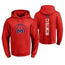 Ole Miss Rebels #13 Dominik Olejniczak Men's Red College Basketball Hoodie