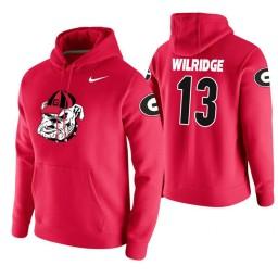Georgia Bulldogs #13 E'Torrion Wilridge Men's Red College Basketball Hoodie