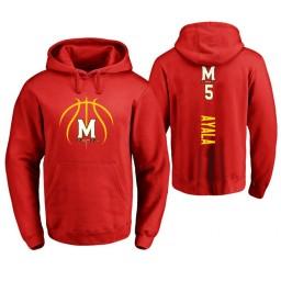Maryland Terrapins #5 Eric Ayala Men's Red College Basketball Hoodie