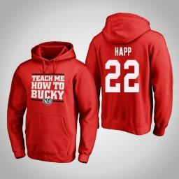 Wisconsin Badgers #22 Ethan Happ Men's Red Team Hometown Collection Pullover Hoodie